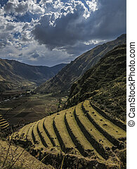 Agricultural terraces in Pisac Peru