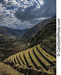 Agricultural terraces in Pisac Peru