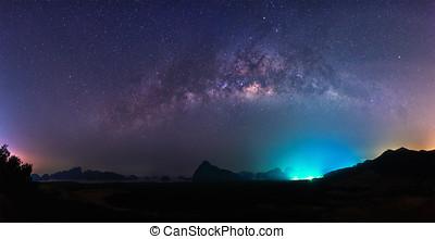 Panorama milky way,night sky.