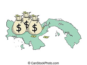 Panama Papers Concept - Sketch illustration of money bags on...