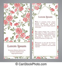 Flayers with flowers - Flayers with floral pattern - rose...