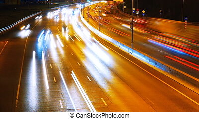 the light trails on the highway - the light trails on the...