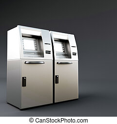 atm - 3d illustration of an atm isolated on dark gray...
