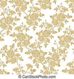 Vector seamless pattern - romantic roses - Vector seamless...