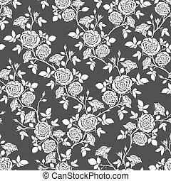 Vector seamless pattern - romantic black and white roses For...