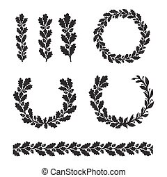Silhouette oak wreaths in different  shapes