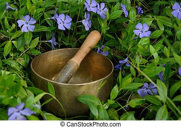 Singing Bowl among flowers cornflower - Metal singing bowl...