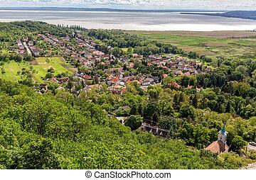 Landscape at lake Balaton, Szigliget from Hungary,