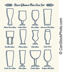 Beer glassware line icons. Beer glasses and goblets thin...