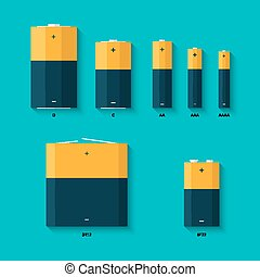 Set of batteries of different sizes. AAAA, AAA, D, C and AA batteries. Kinds of batteries.