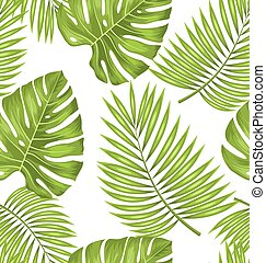 Seamless Wallpaper with Green Tropical Leaves for Fabric...