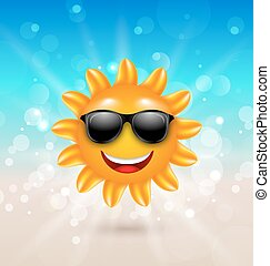 Abstract Hello Summer Background with Cheerful Summer Sun in Sunglasses