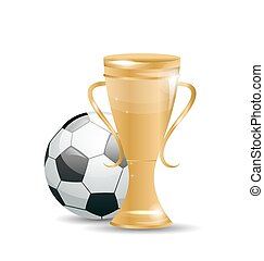 Golden Cup with Football Ball