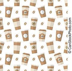 Seamless Pattern with Disposable Coffee Cups