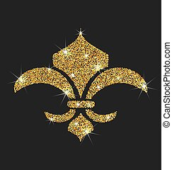 Icon of Fleur de Lis with Glitter Surface