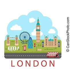 London, England Urban Background - Illustration London,...