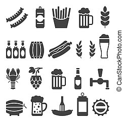 Black Icons of Beer and Snacks Isolated on White Background