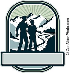 Father Son Journey Mountains Crest Retro - Illustration of a...