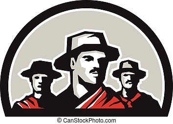 Gauchos Half Circle Retro - Illustration of a group of...