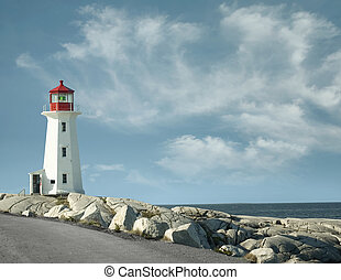 Peggy`s Cove lighthouse - Panoramic view of Peggy`s Cove...