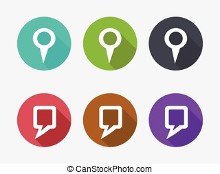 Location icon set in flat design
