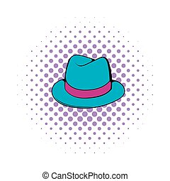 Men hat icon, comics style - Men hat icon in comics style on...