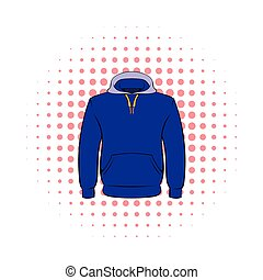 Men hoodies icon, comics style - Men hoodies icon in comics...