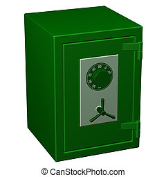 Safe box 3D rendering - Safe box, isolated on white...