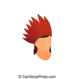 Indian with roach icon, isometric 3d style - Indian with...