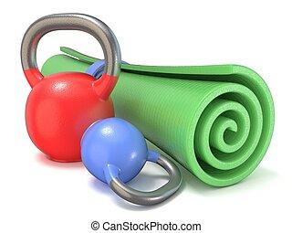 Green fitness mat and kettle bells weights. 3D render...
