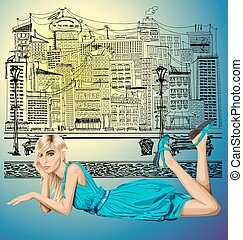 Blonde in pink lies on a floor - Vector fashion blonde in...