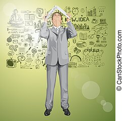 Looking Up Vector Business Man Hides Under The Laptop 03 -...