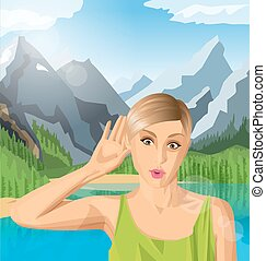 Vector woman overhearing something with her ear and hand,...