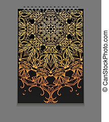 Template notebook on springs with gold freehand mandala and...