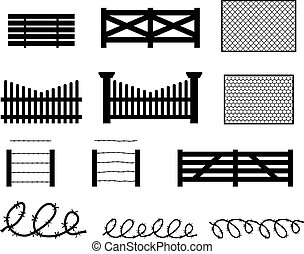Set of rural fences in silhouette style, vector