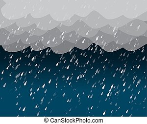 Heavy rain in dark sky, vector background