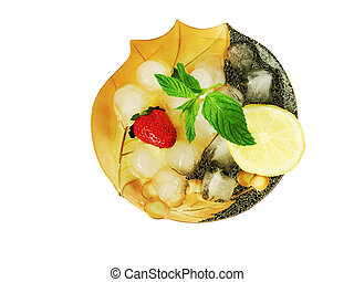slide of ice cubes with strawberries on a saucer