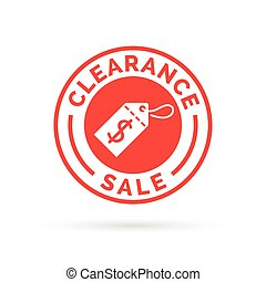 Clearance sale promotion badge sign with red dollar label icon.