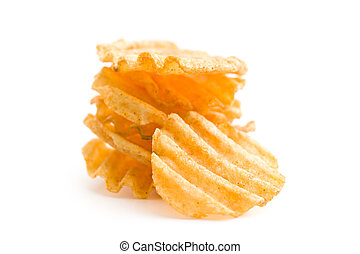 Crinkle cut potato chips - Crinkle cut potato chips isolated...