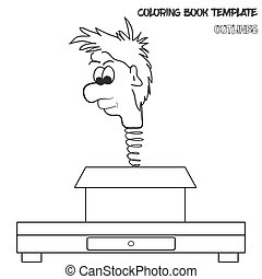 Vector coloring book template in outlines. Man's head on a...