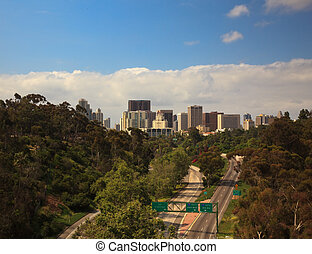 San Diego Skyline from Cabrillo Bridge - Unusual view of San...