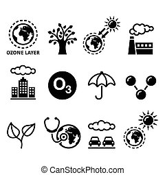 World ozone day, ecology, climate - Vector icons set -...
