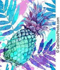 Watercolor painted vivid colors pineapples and leaves...