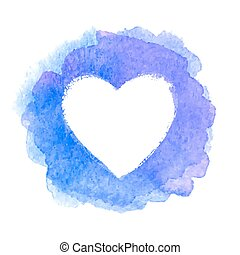 Blue watercolor painted heart shape frame