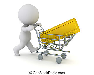 3D Character Pushing Shopping Cart with Large Gold Bar - 3D...
