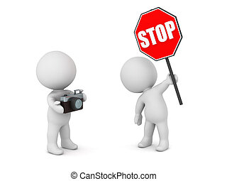 3D Character with Stop Sign and Character with Photo Camera...