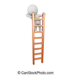 3D Character Standing on Ladder - 3D character standing and...