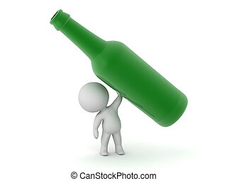 3D Character Holding Up a Bottle - 3D character holding up a...