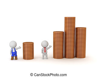 Two 3D Characters Showing Stacks of Coins - Income...