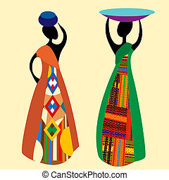 Traditional african women silhouettes illustration